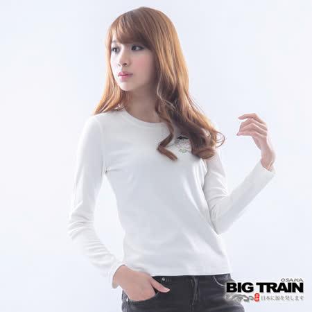 BIG TRAIN 犬張子牡丹印花TEE-白