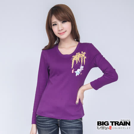 BIG TRAIN 藤園小童印花TEE-紫