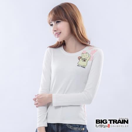 BIG TRAIN 粉櫻招財貓印花TEE-白