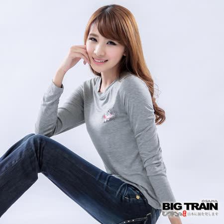 BIG TRAIN 女款 犬張子團花發熱TEE-麻灰