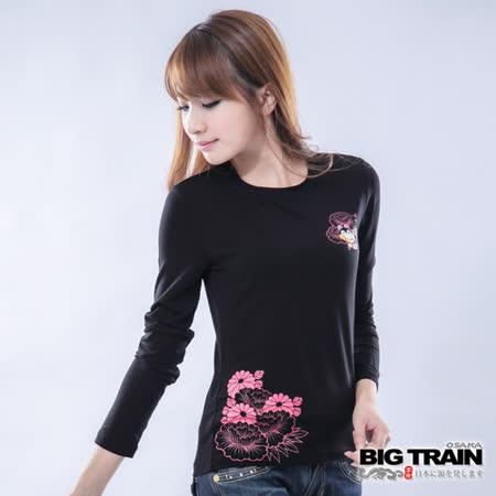 BIG TRAIN 女款 犬張子團花發熱TEE-黑