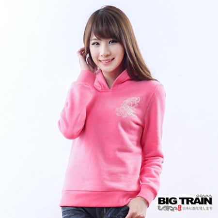 BIG TRAIN 豐花圖騰連帽TEE-桃紅