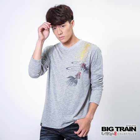 BIG TRAIN 金魚鑠金V領TEE-麻灰