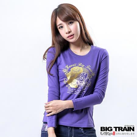 BIG TRAIN 招財赤鬼和柄印花T-紫色