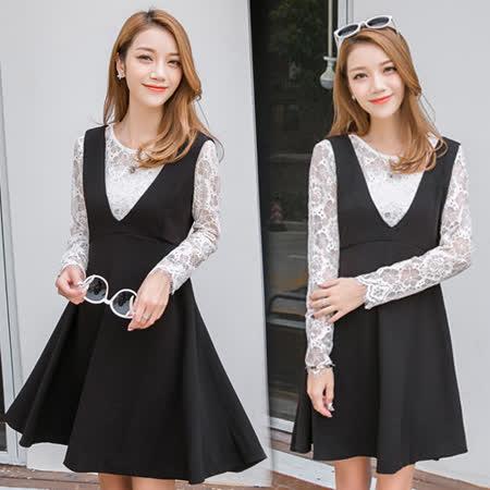 【韓國KW】蕾絲拼接長袖連身裙