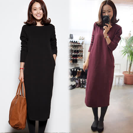 【韓國KW】休閒修身長袖連身裙