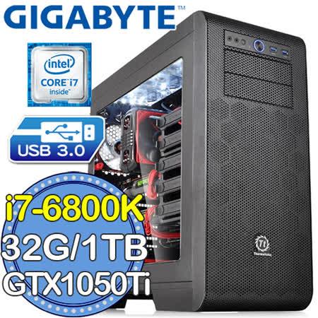 技嘉X99平台【戰略諜網】Intel i7六核 GTX1050Ti-4GD獨顯 SSD 240G燒錄電腦