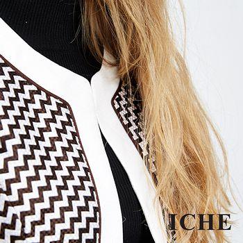 ICHE衣哲 立體線構編織紋短版外套