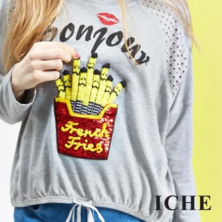 ICHE衣哲 趣味圖案抽繩設計造型上衣