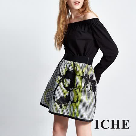 ICHE衣哲 造型印花造型短裙