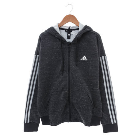 Adidas (女) 棉質--運動外套(連帽) 暗灰 AZ4849