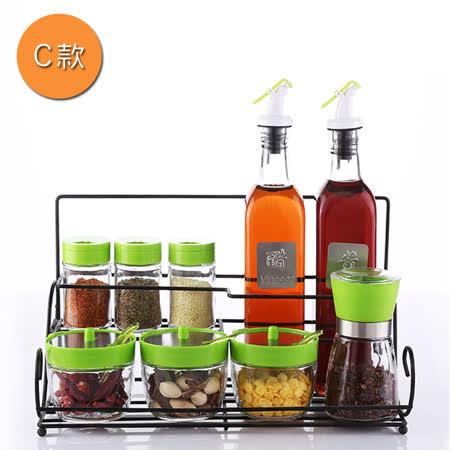 PUSH!廚房用品調味瓶調味罐調味盒胡椒罐鹽罐(瓶罐架套裝C組)D94