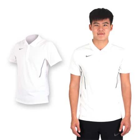 (男) NIKE 翻領短袖針織衫-休閒T 短袖T恤 立領 白灰
