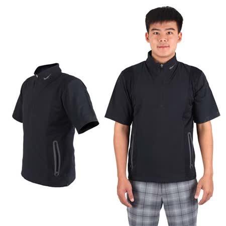 (男) NIKE GOLF抗水防風系列短袖外套- 風衣外套 立領 黑