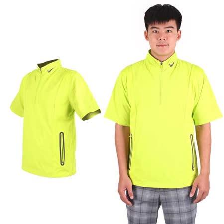(男) NIKE GOLF抗水防風系列短袖外套- 風衣外套 立領 芥末綠黑