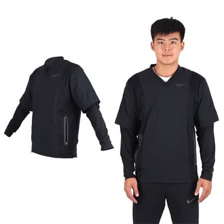 (男) NIKE GOLF 抗水防風系列V領上衣-長袖T恤  高爾夫球 丈青黑