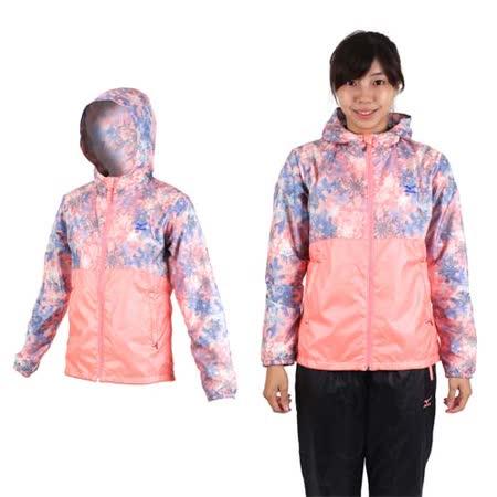 (女) MIZUNO 保暖風衣外套- 刷毛 連帽外套 慢跑 路跑 美津濃 粉橘藍