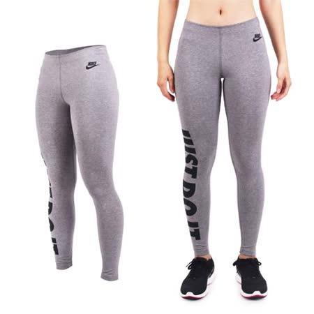 (女) NIKE 彈力長褲-緊身長褲 慢跑 路跑 健身 灰黑