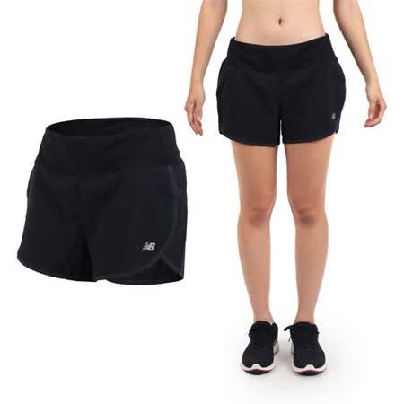 (女) NEWBALANCE DRY專業慢跑短褲-路跑 馬拉松 NB 黑銀