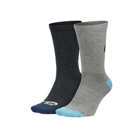 (女) NIKE 2包裝中筒襪 -長襪 襪子 慢跑 路跑 灰水藍