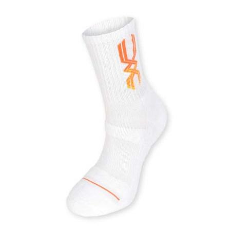 (男) MIZUNO 運動厚底襪-襪子 美津濃 慢跑 路跑 籃球 白亮橘 M