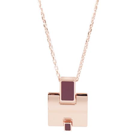 HERMES Eileen 時尚配件經典H LOGO銀飾項鍊.玫瑰金/紫