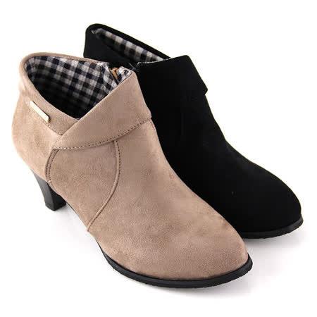 【Pretty】輕熟反摺側拉鍊高跟踝靴