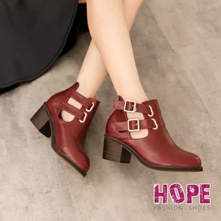 【私心大推】gohappy快樂購物網【HOPE】側裸雙皮釦中跟短筒靴-紅【K166C2817】評價如何內 湖 量販 店
