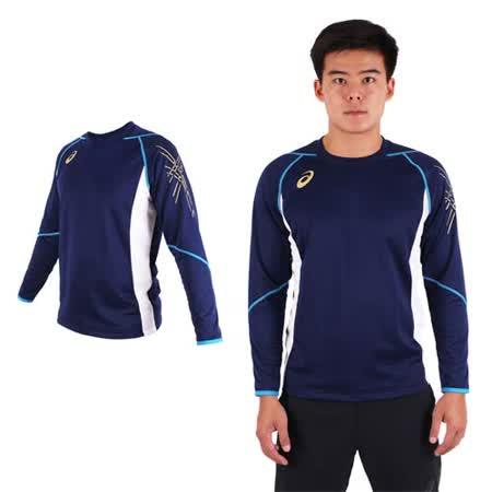 (男) ASICS 背部保暖長袖T恤 - 長T 亞瑟士 丈青藍金