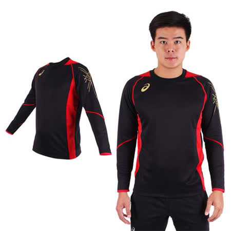 (男) ASICS 背部保暖長袖T恤 - 長T 亞瑟士 黑紅金