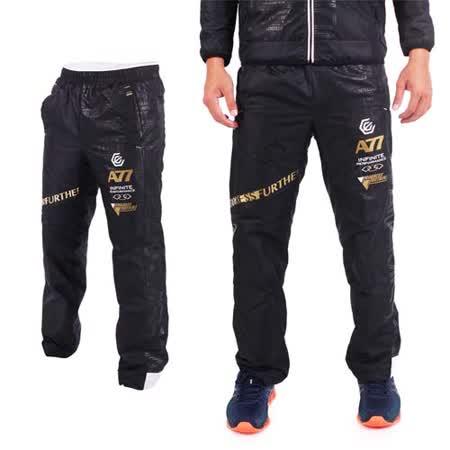 (男) ASICS A77 保暖風褲 - 長褲 刷毛 路跑 慢跑 防風 亞瑟士 黑白金