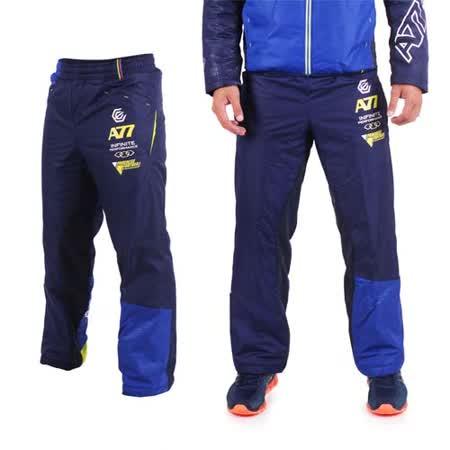 (男) ASICS A77 鋪棉長褲 - 刷毛 保暖 防風 路跑 慢跑 亞瑟士 藍黃白