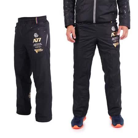 (男) ASICS A77 鋪棉長褲 - 刷毛 保暖 防風 路跑 慢跑 亞瑟士 黑白金