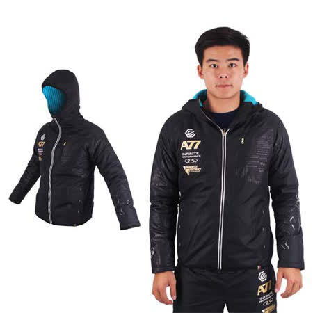 (男) ASICS A77 鋪棉外套-刷毛 保暖 防風 連帽外套 慢跑 亞瑟士 黑白金