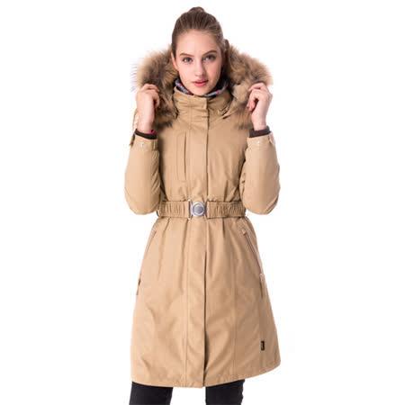 【hilltop山頂鳥】女款GoreTex兩件式防水羽絨長大衣F21F68卡其