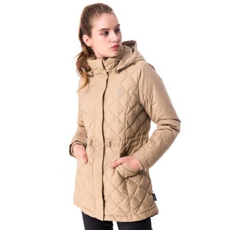 【hilltop山頂鳥】女款WS抗風保暖蓄熱羽絨短大衣F22FV2卡其