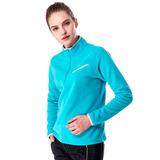 【hilltop山頂鳥】女款半開襟拉鍊口袋保暖刷毛上衣H51FG2藍