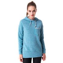 【hilltop山頂鳥】女款連帽保暖刷毛長版上衣H51FG5藍