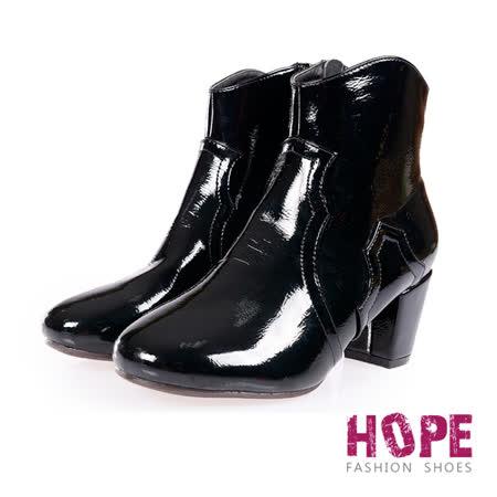 【部落客推薦】gohappy快樂購物網【HOPE】亮面漆皮側拉鍊粗跟短靴-黑【K167C3010】有效嗎台中 大 遠 白