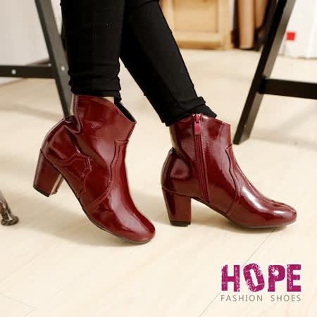【好物推薦】gohappy快樂購物網【HOPE】亮面漆皮側拉鍊粗跟短靴-紅【K167C3010】價格遠東 百貨 公司 板橋 店