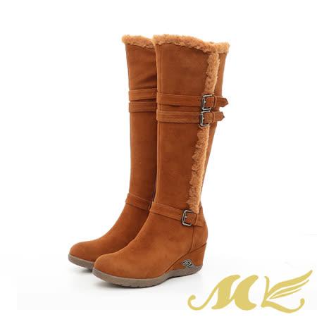 【真心勸敗】gohappy快樂購【MK】手作真皮系列-刷毛扣帶蒙古楔型長靴-棕色哪裡買豐原 愛 買