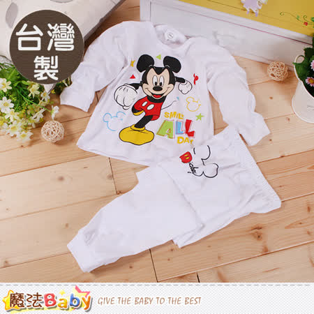 魔法Baby 兒童居家套裝 台灣製迪士尼米奇薄款長袖套裝 k60222