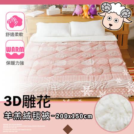 3D雕花羊羔絨毯被-熾紅野原 150x200cm