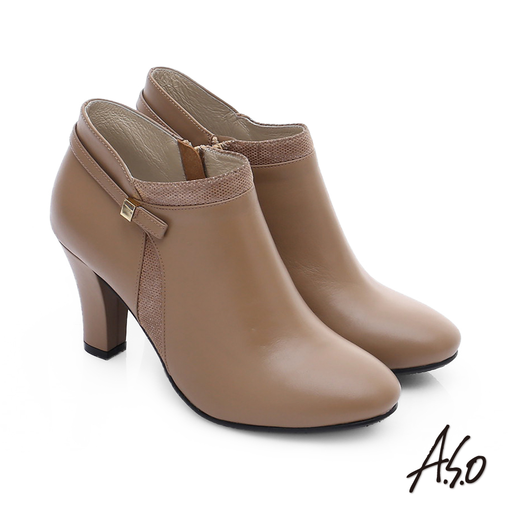 【A.S.O】優雅美型 牛皮拼接絨面金屬飾扣高跟短靴(卡其)
