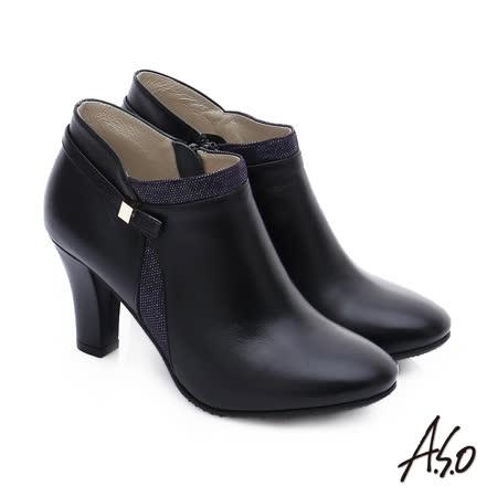 【A.S.O】優雅美型 牛皮拼接絨面金屬飾扣高跟短靴(黑)