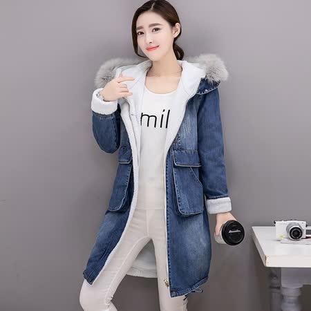 【預購MY-CHIC】韓系冬日加厚真毛領連帽羊羔毛牛仔大衣外套8894(藍色)