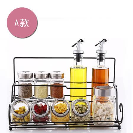 PUSH!廚房用品調味瓶調味罐調味盒胡椒罐鹽罐(瓶罐架套裝A組)D92