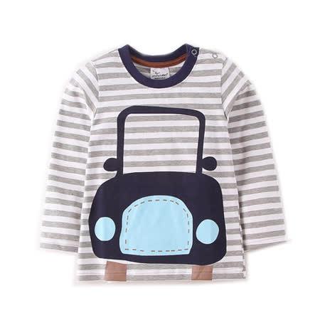 上衣 男童 條紋車 歐美經典兒童純棉長袖T恤