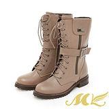 【MK】台灣真皮系列-綁帶帶側扣軍靴-可可色