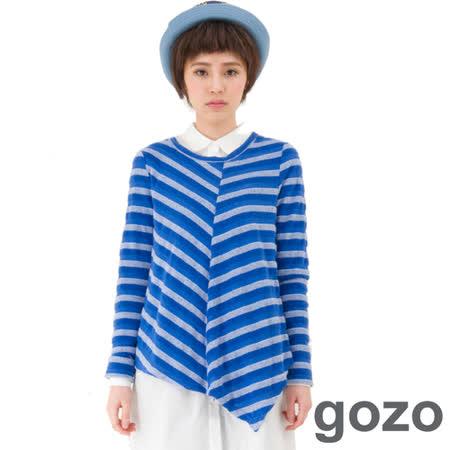 gozo 圖案一般身T恤袖全長-中藍